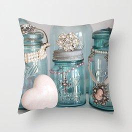 Vintage Mason Jars Shabby Chic Cottage Jeweled Decor Throw Pillow