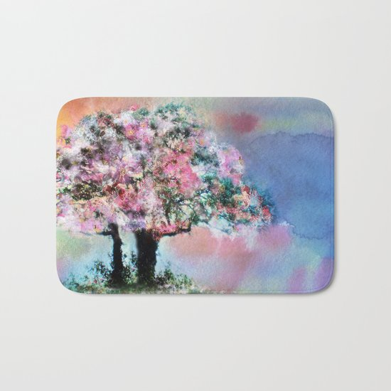 Cherry Blossom Trees Bath Mat