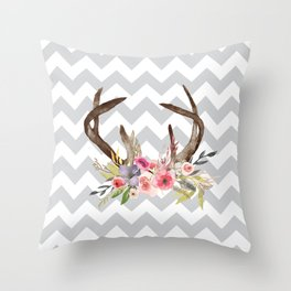 Deer Antlers with flowers Throw Pillow