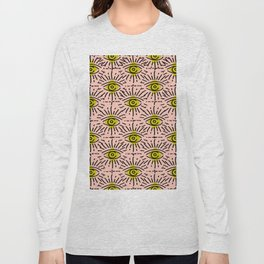 Dainty Seeing Eye Pattern in Chartreuse Long Sleeve T-shirt