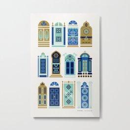 Moroccan Doors – Blue & Gold Palette Metal Print