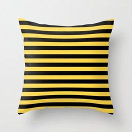 Even Horizontal Stripes, Yellow and Black, M Throw Pillow