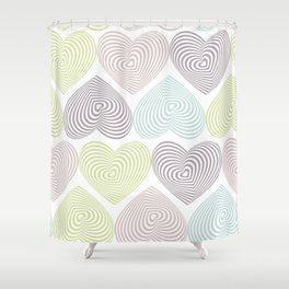 pastel hearts on white Shower Curtain