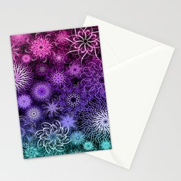 Unicorn Floral Mandala Swirl Pattern Stationery Cards