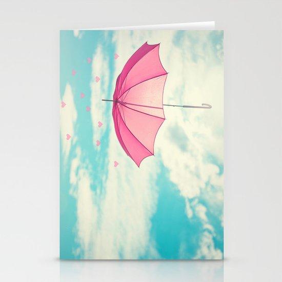 Raining Hearts Stationery Cards