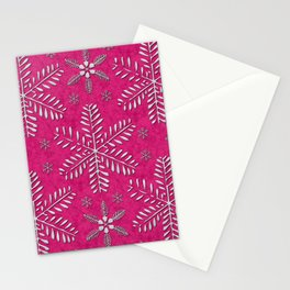 DP044-7 Silver snowflakes on pink Stationery Cards