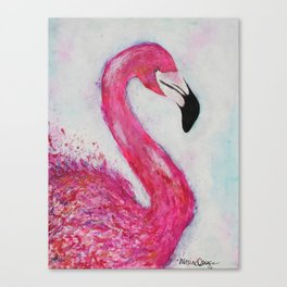 Hot Pink Flamingo vibrant mixed media with watercolor background Canvas Print
