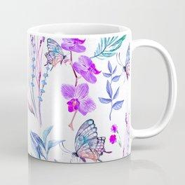 Modern purple blue watercolor hand painted orquid butterfly Coffee Mug