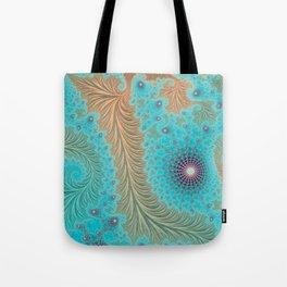 "Aqua Teal Turquoise ""Aquae"" - Fractal Art Tote Bag"