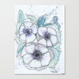 Anemone bouquet illustration watercolor and black ink painting Canvas Print