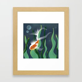 Koi and Plants // Fish In Water Framed Art Print