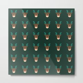 Cute deer pattern Christmas decorations retro colors dark green background Metal Print