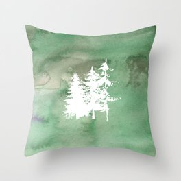 Hand painted forest green white watercolor pine trees Throw Pillow