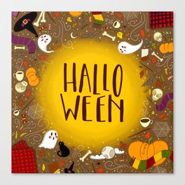 Halloween Spooky Lettering Canvas Print