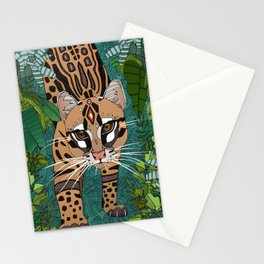 ocelot jungle green Stationery Cards