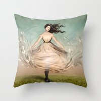 dress Throw Pillows featuring Butterfly Dress by Christian Schloe