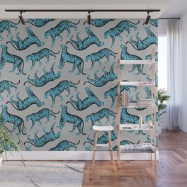 Tigers (Gray and Blue) Wall Mural