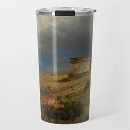 Via Appia with the Tomb of Caecilia Metella in Roman Italian Countryside by Oswald Achenbach Travel Mug