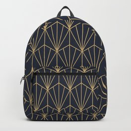 Art Deco Vector in Blue and Gold Backpack