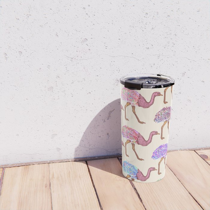 Watercolor Painted Ostrich Pattern Travel Mug