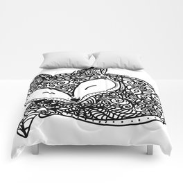 Black and White Mandala Fox Design Illustration Comforters