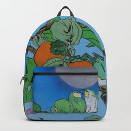 Persimmon branch moon and birds Japan Hieroglyph original artwork in japanese style J099  painting w Backpack