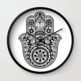Black and White Hamsa Hand Wall Clock