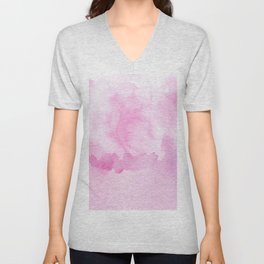 Blush pink white abstract watercolor paint Unisex V-Neck