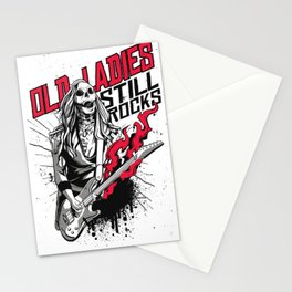Old Ladies Still Rocks - Halloween Lady Zombie Stationery Cards