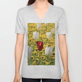 tulips in a field of daisies Unisex V-Neck
