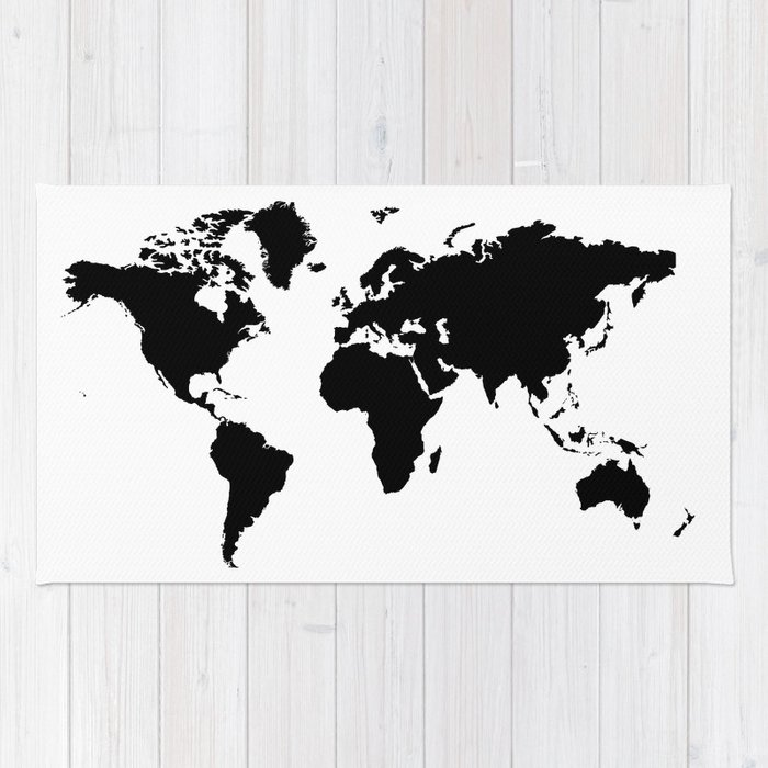 Black and white world map rug by haroulita society6 black and white world map rug gumiabroncs Images