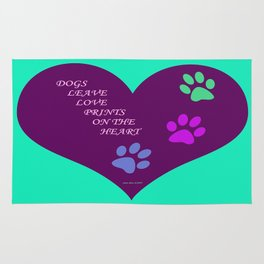 Dogs Leave Love Prints On The Heart By Annie Zeno  Rug