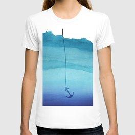 Cute Sinking Anchor in Sea Blue Watercolor T-shirt