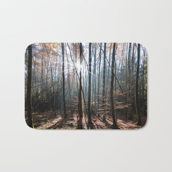 Light Shining in the Forest Bath Mat