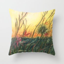 Wildflowers_Pastel Drawing Throw Pillow