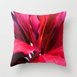 Red Ti Leaf Throw Pillow