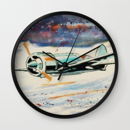 Airplane lost in the snow Wall Clock