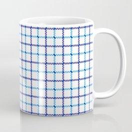 Classic Blue & White Large Tattersall Check Pattern Coffee Mug