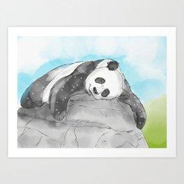 Sleepy Panda Watercolor Art Print