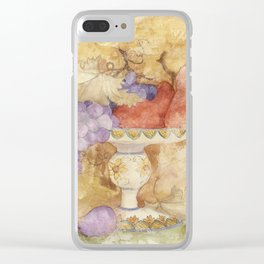 Watercolor Fruit on Clay Fresco Clear iPhone Case