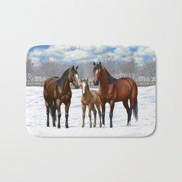 Bay Quarter Horses In Snow Bath Mat