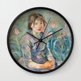 Berthe Morisot - Peasant Girl Among Tulips Wall Clock