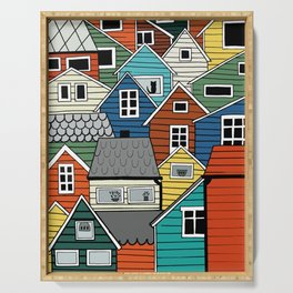 Colorful houses in Norway Serving Tray