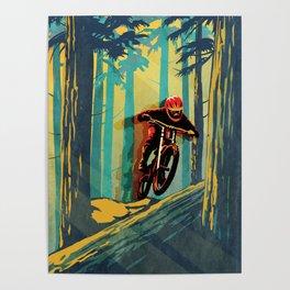 RETRO MOUNTAIN BIKE POSTER LOG JUMPER Poster