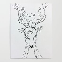 whale minded deer Poster