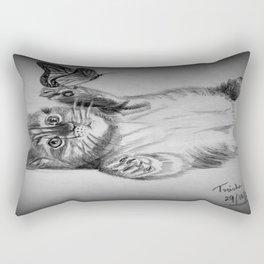 Kitten catching the butterfly Rectangular Pillow