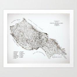 Santa Cruz Surf Map, 1938 Map featuring all the best surf spots! Surf Art & Home Decor Art Print