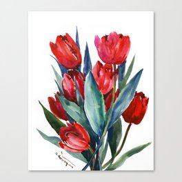 Red Tulips Floral Red,Turquoise Blue Artwork, garden tulips tulip lover design Canvas Print
