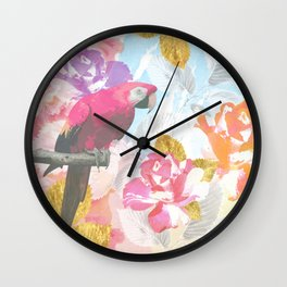 Pink Parrot Watercolor Flowers & Leaves Wall Clock