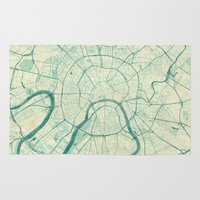 moscow Area & Throw Rugs featuring Moscow Map Blue Vintage by City Art Posters